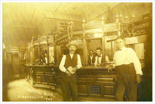 Interior view of First National Bank - year unknown