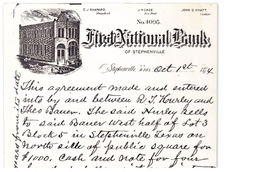 Agreement written by First National Bank on October 1, 1894