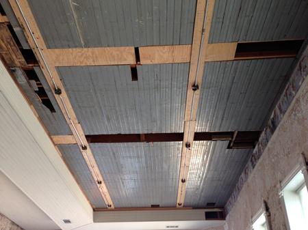 Blue beadboard ceiling